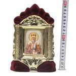 Николай Чудотворец, керамика, икона средняя, флокированная, цвет бордовый - золото (СА).