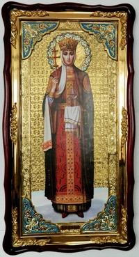 Ольга, Св.Р.Ап.Кн., в фигурном киоте, с багетом. Большая Храмовая икона (61 х 112)