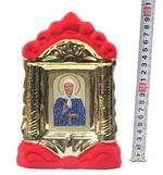 Матрона Московская, керамика, икона средняя, флокированная, цвет красный - золото (СА).