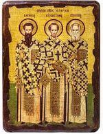 Три святителя Василий Великий, Григорий Богослов и Иоанн Златоуст, икона под старину, сургуч (13 Х 17)
