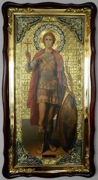 Уар, Св.муч., (рост), в фигурном киоте, с багетом. Большая Храмовая икона (61 х 112)