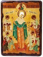 Всех скорбящих радость Б.М. (с грошиками), икона под старину, сургуч (13 Х 17)