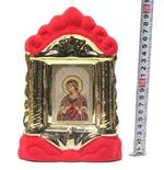 Семистрельная Б.М., керамика, икона средняя, флокированная, цвет красный - золото (СА).