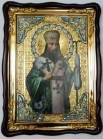 Феодосий Черниговский, в фигурном киоте, с багетом. Храмовая икона (60 Х 80)