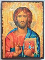 Спаситель (пояс, золотой фон), икона под старину JERUSALEM панорамная, с клиньями (13 Х 17)