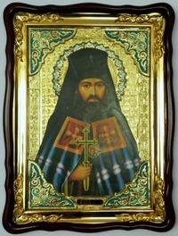 Иоанн Шанхайский, в фигурном киоте, с багетом. Храмовая икона (60 Х 80)