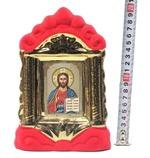 Спаситель, керамика, икона средняя, флокированная, цвет красный - золото (СА).