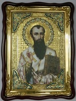 Василий Великий, в фигурном киоте, с багетом. Храмовая икона (60 Х 80)