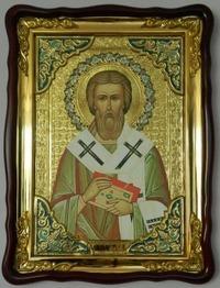 Валентин, Св. Еписк., в фигурном киоте, с багетом.Храмовая икона (60 Х 80)