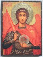 Арх. Михаил (пояс, золотой фон), икона под старину JERUSALEM прямая (13 Х 17)
