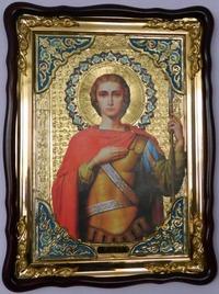 Георгий Победоносец (пояс), в фигурном киоте, с багетом. Храмовая икона (82 Х 114)