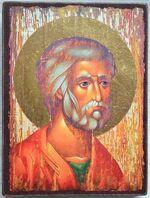 Апостол Петр (оплечный, красное одеяние), икона под старину JERUSALEM прямая (13 Х 17)