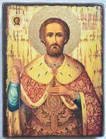 Александр Невский (пояс, золотой фон), икона под старину JERUSALEM панорамная, с клиньями (13 Х 17)