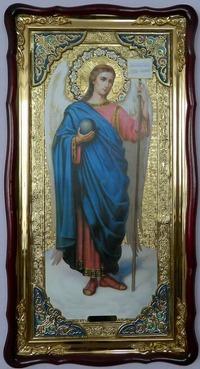 Архангел Гавриил, в фигурном киоте, с багетом. Большая Храмовая икона (61 Х 112)
