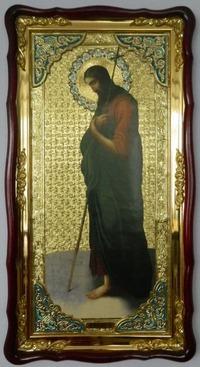 Иоанн Предтеча (иконостас), в фигурном киоте, с багетом. Большая Храмовая икона (61 х 112)