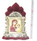 Казанская Б.М., керамика, икона большая купола, флокированная, цвет бордовый - золото (СА).