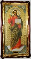 Спаситель (рост, красн. од.), в фигурном киоте, с багетом. Большая Храмовая икона (61 х 112)