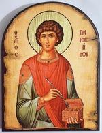 Пантелеймон (пояс), икона под старину JERUSALEM, арка (13 Х 17)