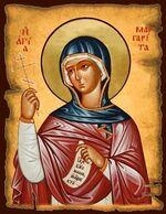 Маргарита Антиохийская Св.Мч., икона под старину JERUSALEM панорамная, с клиньями (13 Х 17)
