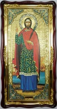 Иоанн Сочавский (рост), в фигурном киоте,с багетом. Большая Храмовая икона (61 х 112)