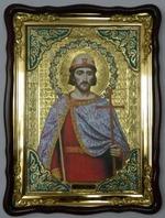 Борис, Св. муч, в фигурном киоте, с багетом. Храмовая икона (60 Х 80)