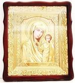 Казанская Б.М.. Храмовая икона в фигурном киоте, в ризе, с багетом, 38 Х 44