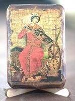 Екатерина Александрийская, Св.Вл.Мч., икона под старину, сургуч (8 Х 10)