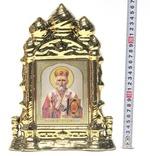 Николай Чудотворец, керамика, икона большая купола, цвет золото (СА).
