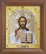 Спаситель. Икона в деревянной рамке с окладом (Д-25псо-15)