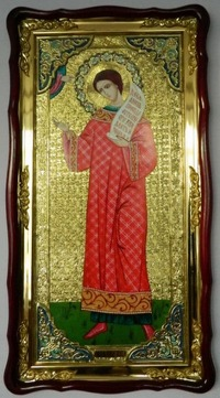 Роман Сладкопевец (рост), в фигурном киоте, с багетом. Большая Храмовая икона (61 х 112)