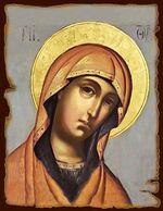 Пресвятая Богородица, икона под старину JERUSALEM панорамная, с клиньями (13 Х 17)