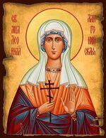 Леонилла (Неонилла) Лангонийская Св. Мч., икона под старину JERUSALEM панорамная, с клиньями (13 Х 17)