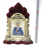 Матрона Московская, керамика, икона большая купола, флокированная, цвет бордовый - золото (СА).