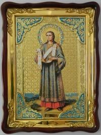 Стефан, Св. муч., в фигурном киоте, с багетом. Храмовая икона (60 Х 80)