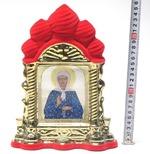 Матрона Московская, керамика, икона большая купола, флокированная, цвет красный - золото (СА).