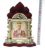 Николай Чудотворец, керамика, икона большая купола, флокированная, цвет бордовый - золото (СА).