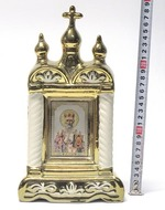 Николай Чудотворец, керамика, икона большая купола, крест, цвет золото (СА).
