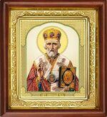 Николай Чудотворец, икона в деревянной рамке (Д-16пс-25)