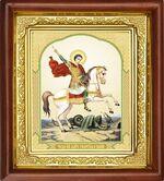 Георгий, убивающий змея, икона в деревянной рамке (Д-16пс-32)