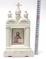Спаситель, керамика, икона большая купола, крест, цвет перламутр (СА).