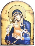 Достойно Есть Б.М. (милующая), икона под старину JERUSALEM, арка (13 Х 17)