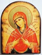 Умягчение злых сердец Б.М., икона под старину JERUSALEM, арка (13 Х 17)