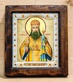 Тихон Задонский, святитель, Икона Византикос, полуоклад, 12Х14