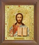 Спаситель. Икона в деревянной рамке с окладом (Д-25псо-17)