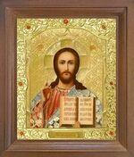 Спаситель. Икона в деревянной рамке с окладом (Д-26псо-17)