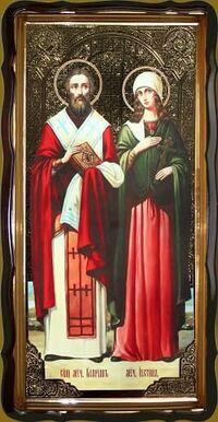 Киприан и Устинья (рост), в фигурном киоте, с багетом. Храмовая икона 60 Х 114 см.