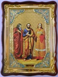 Самон Гурий и Авив Св. муч., в фигурном киоте, с багетом. Большая Храмовая икона (82 Х 114)