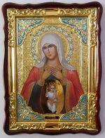 Помощница в родах Б.М., в фигурном киоте, с багетом. Храмовая икона (60 Х 80)