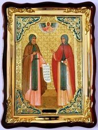 Петр и Феврония (рост), в фигурном киоте, с багетом. Большая Храмовая икона (82 Х 114)