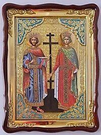 Константин и Елена, в фигурном киоте, с багетом. Храмовая икона (60 Х 80)
